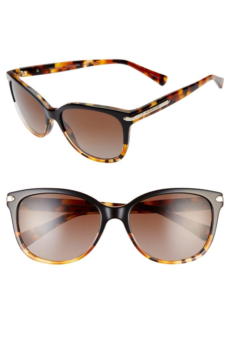 COACH 57mm Polarized Retro Sunglasses, Main, color, 006