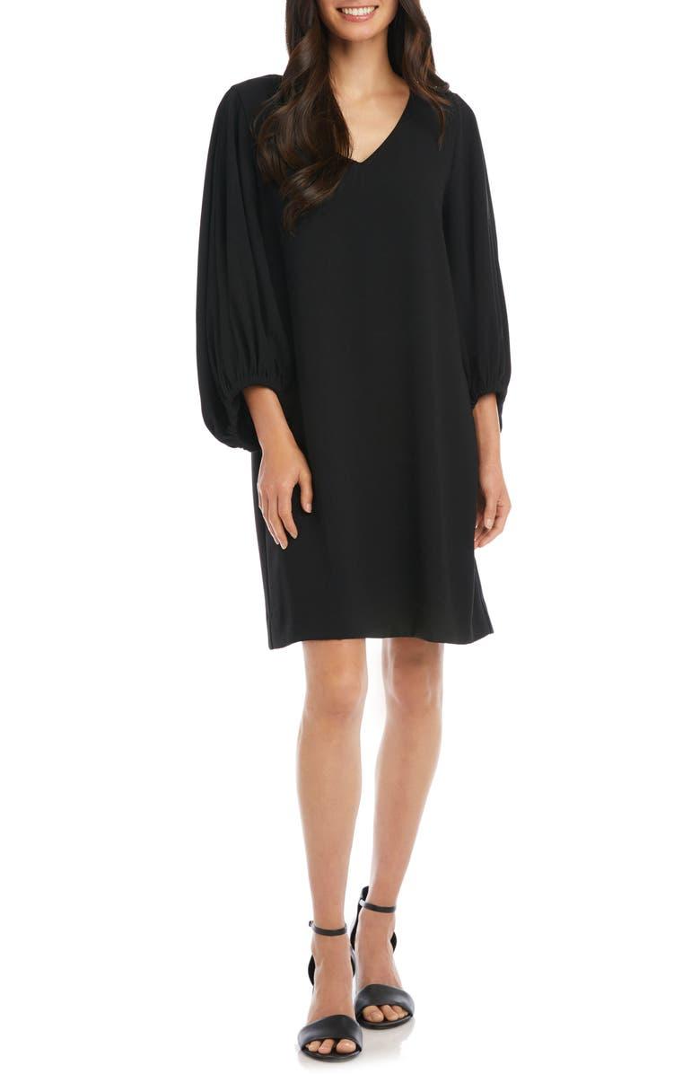 KAREN KANE Bishop Sleeve Crepe Shift Dress, Main, color, BLACK