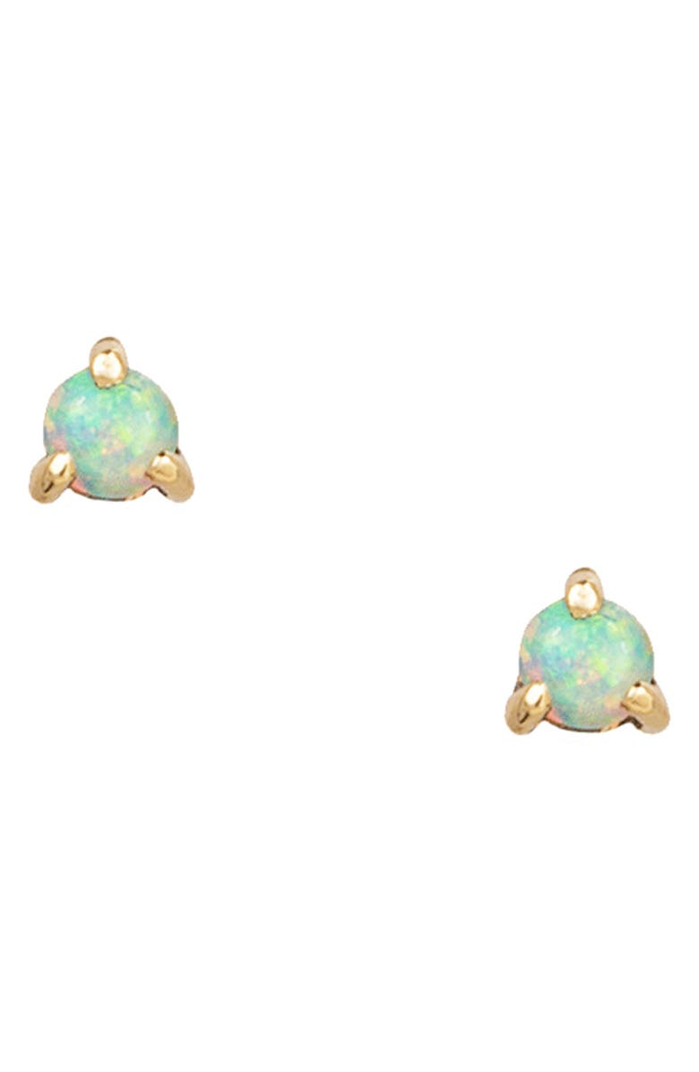 WWAKE Opal Stud Earrings, Main, color, YELLOW GOLD/ OPAL