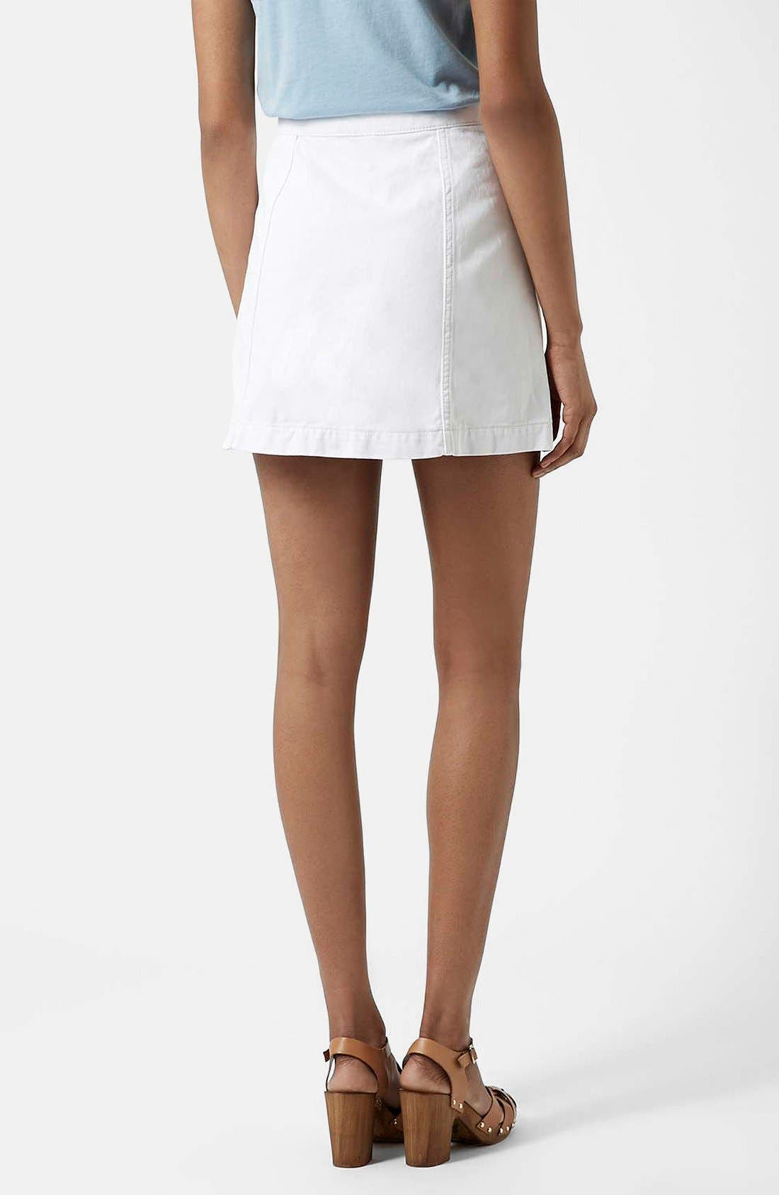 ,                             Moto Button Front Denim Skirt,                             Alternate thumbnail 3, color,                             100