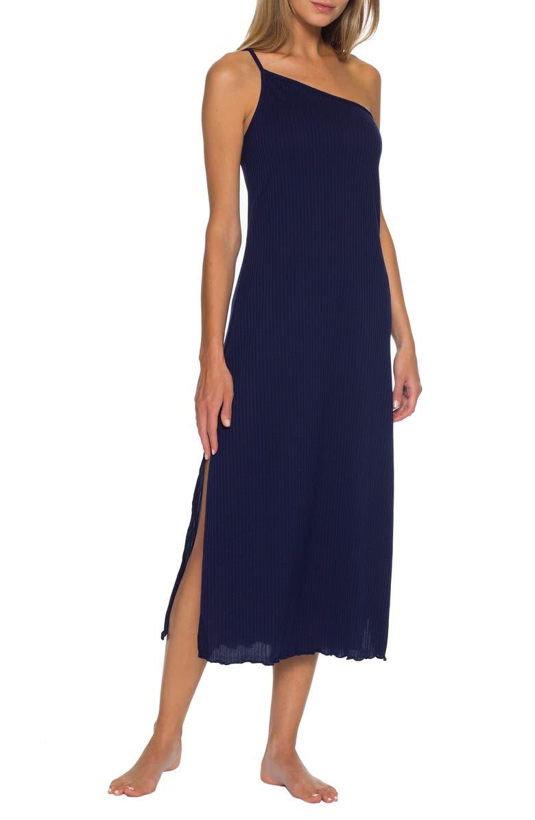 BECCA Shoreline Ribbed One-Shoulder Cover-Up Dress, Main, color, NAVY
