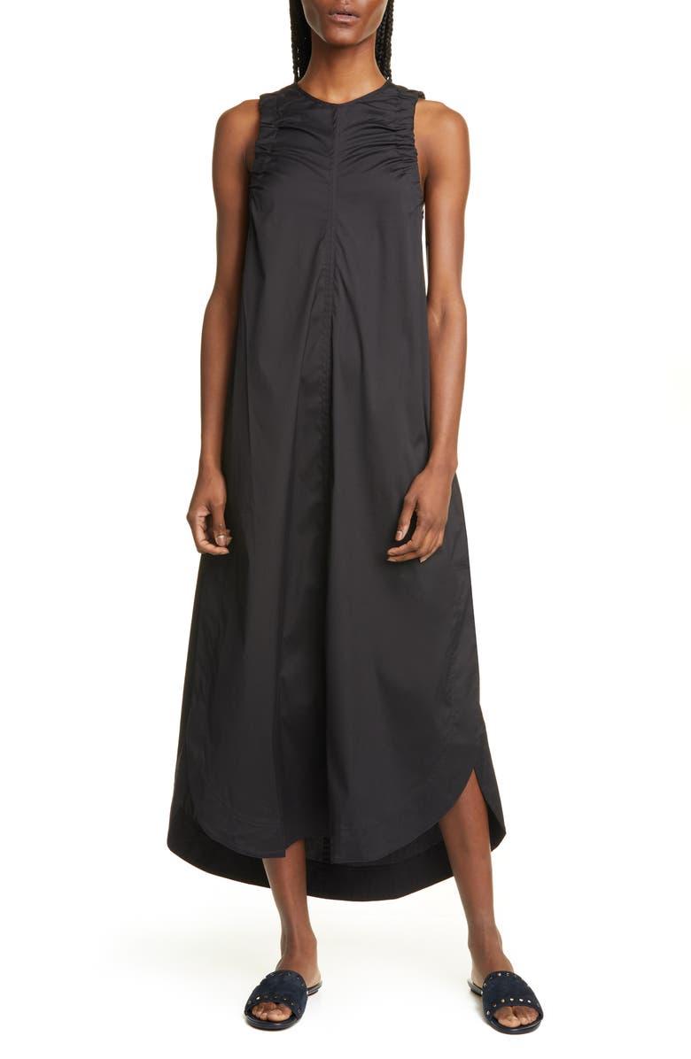 LEE MATHEWS Elsie Poplin Midi Tank Dress, Main, color, BLACK