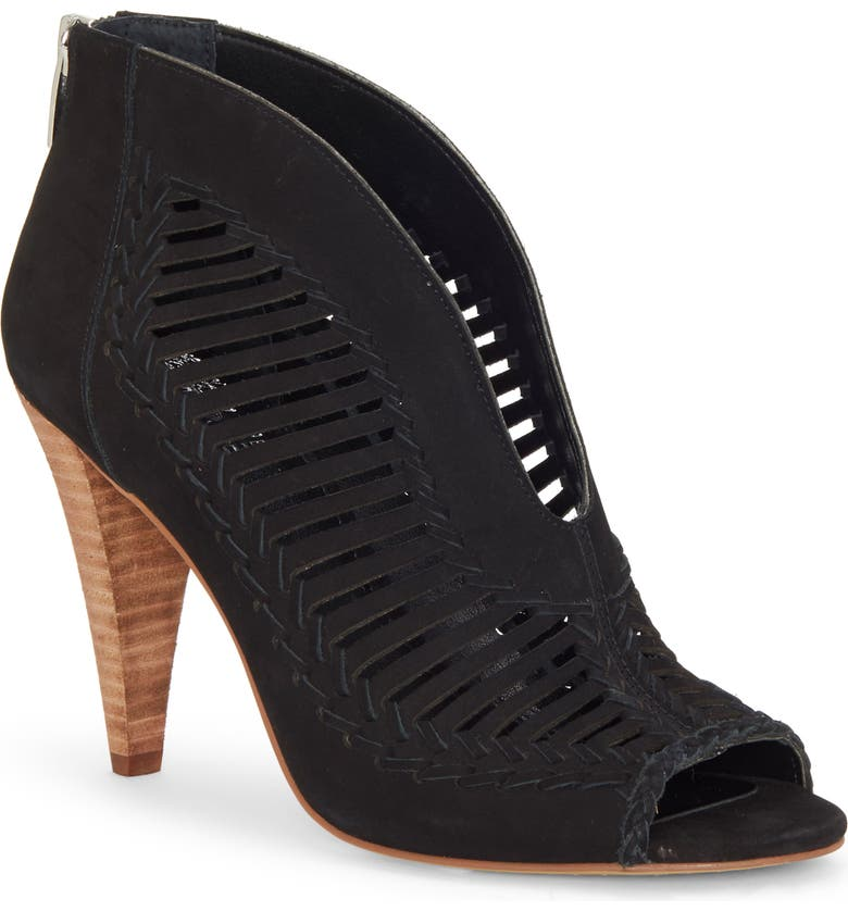 VINCE CAMUTO Acha Cutout Peep Toe Bootie, Main, color, BLACK NUBUCK LEATHER