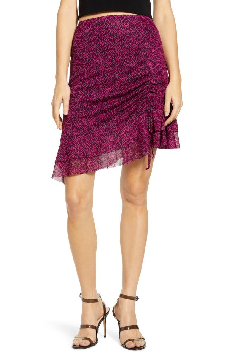 4SI3NNA Terry Ruched Ruffle Hem Skirt, Main, color, NAVY-PINK DOT
