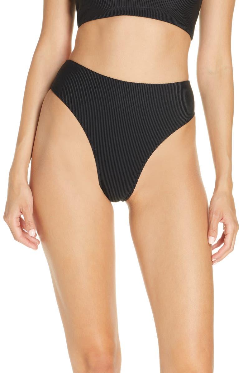 FRANKIES BIKINIS Jenna Bikini Bottoms, Main, color, BLACK