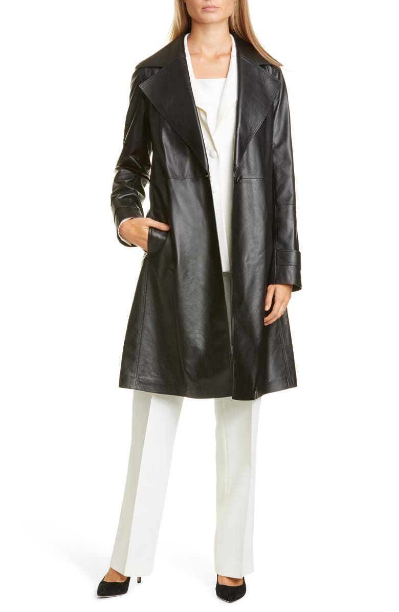 LAFAYETTE 148 NEW YORK Michael Leather Trench Coat, Main, color, BLACK