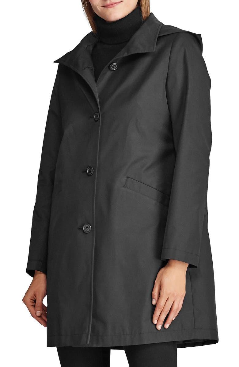 LAUREN RALPH LAUREN Hooded Water Repellent Trench Coat, Main, color, BLACK