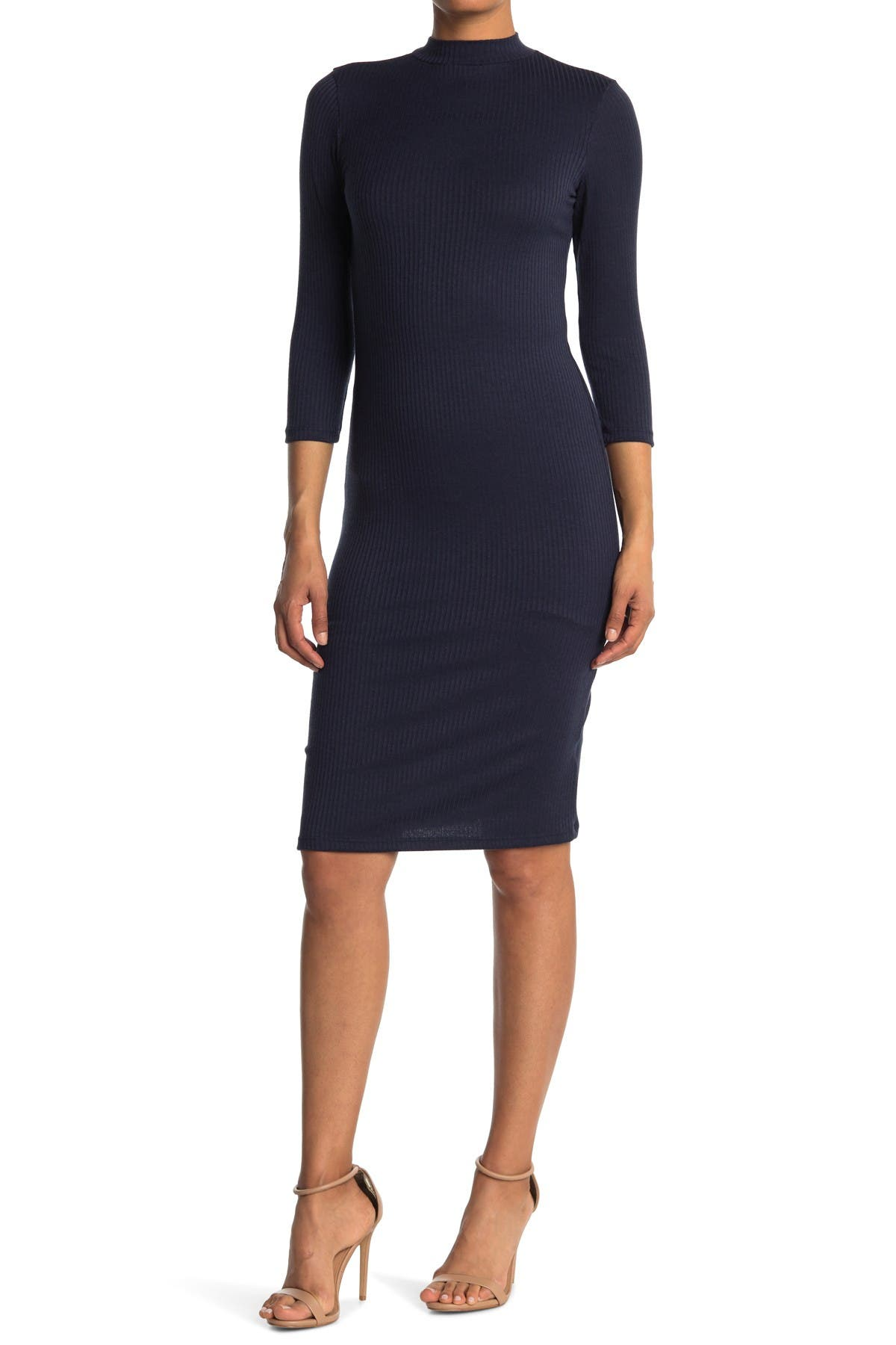 Image of Velvet Torch Ribbed Mock Neck 3/4 Sleeve Dress