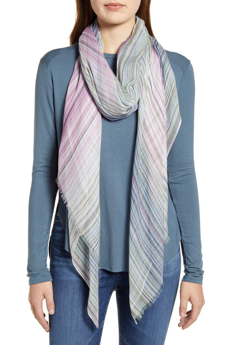 NORDSTROM Yarn Dyed Stripe Wrap, Main, color, BLUE COMBO ECCENTRIC STRIPE