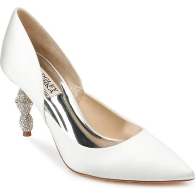 Badgley Mischka Evan Crystal Heel Pointed Toe Pump, White