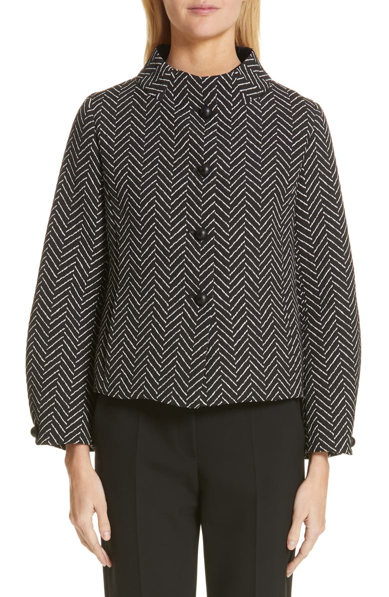 EMPORIO ARMANI Herringbone Jacquard Jacket, Main, color, BLACK/ WHITE