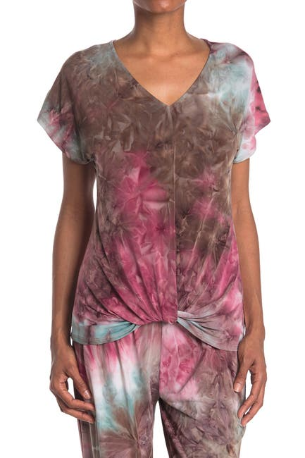 Image of TUA Twist Hem Patterned T-Shirt