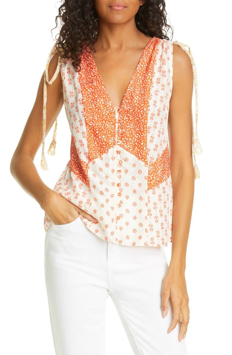 REBECCA TAYLOR Mix Print Sleeveless Silk Top, Main, color, 800