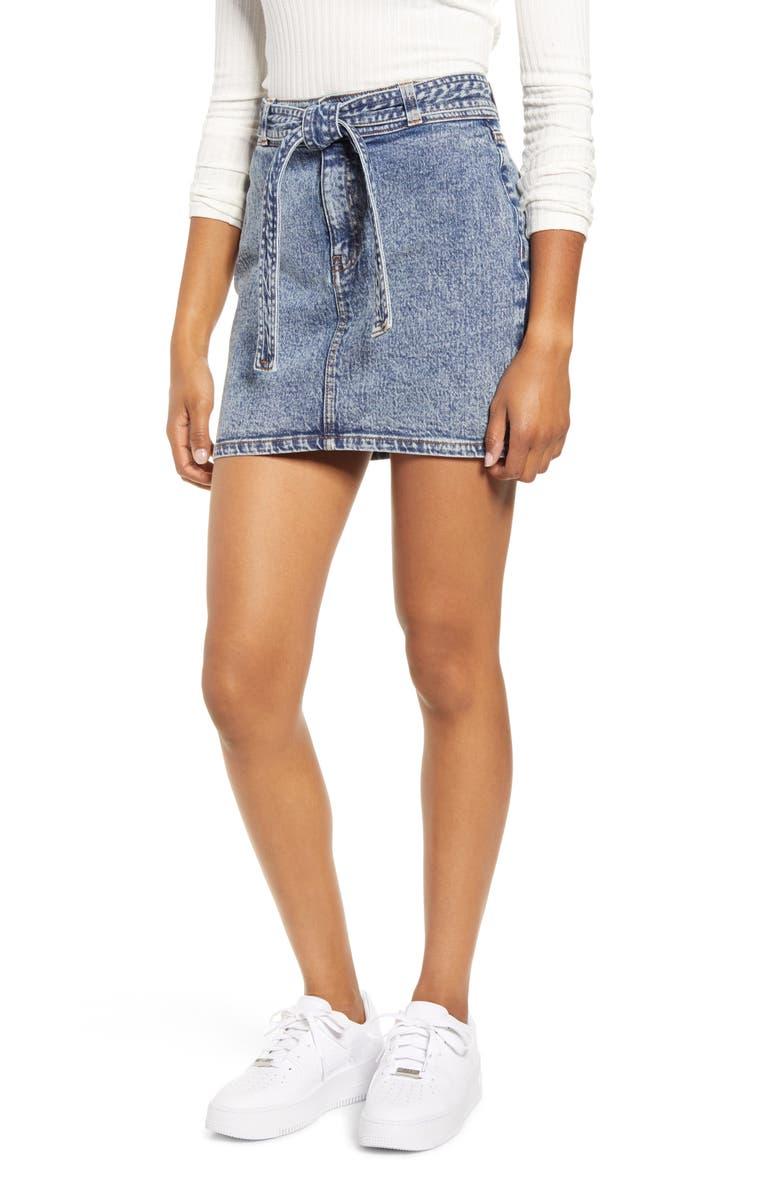PROSPERITY DENIM Belted Acid Wash Denim Miniskirt, Main, color, ACID WASH