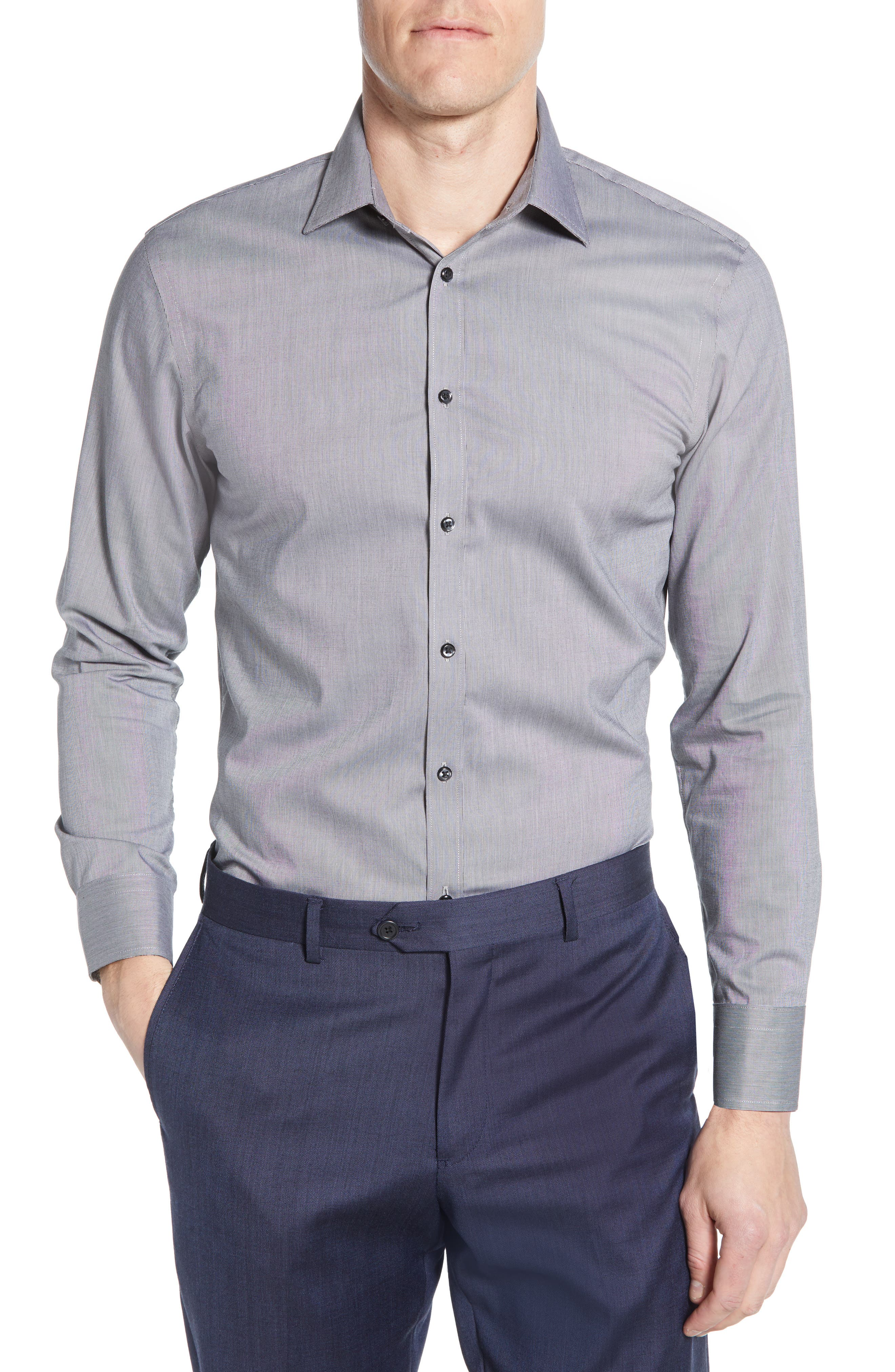 ,                             Extra Trim Fit Non-Iron Solid Dress Shirt,                             Main thumbnail 7, color,                             030