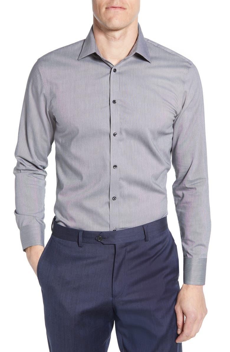 NORDSTROM MEN'S SHOP Extra Trim Fit Non-Iron Solid Dress Shirt, Main, color, GREY CASTLEROCK