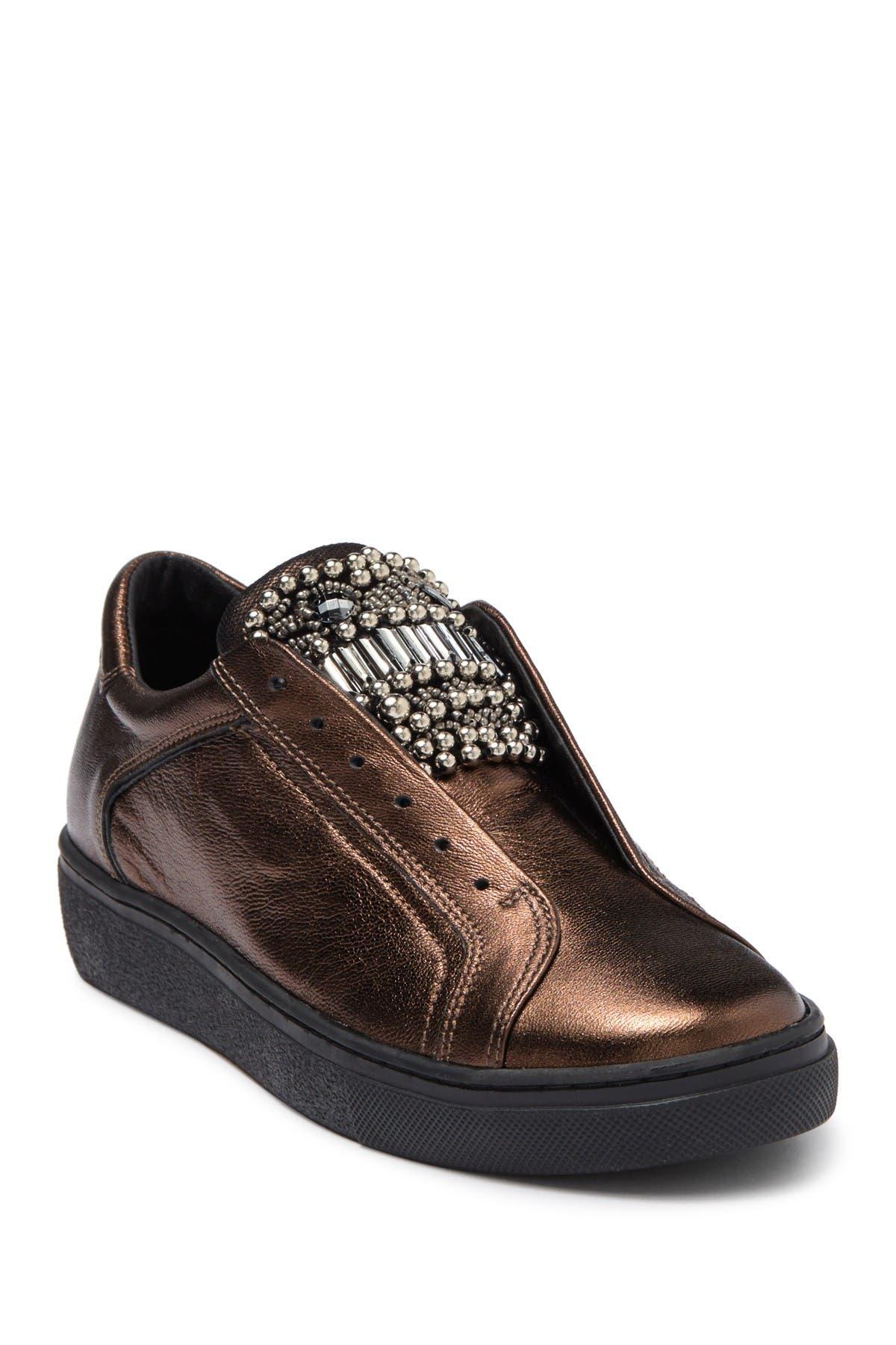 Image of TOSCA BLU Cervinia Embellished Leather Slip-On Sneaker