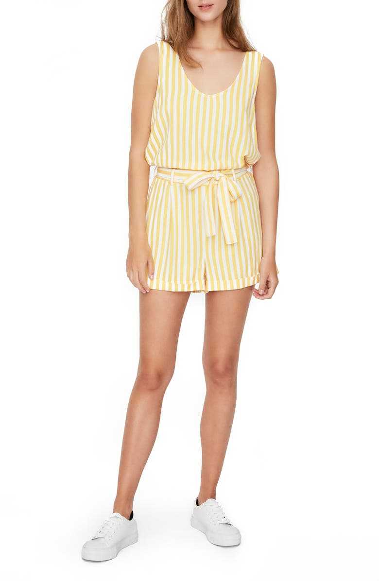 VERO MODA Helen Milo Stripe Romper, Main, color, BANANA CREAM STRIPE