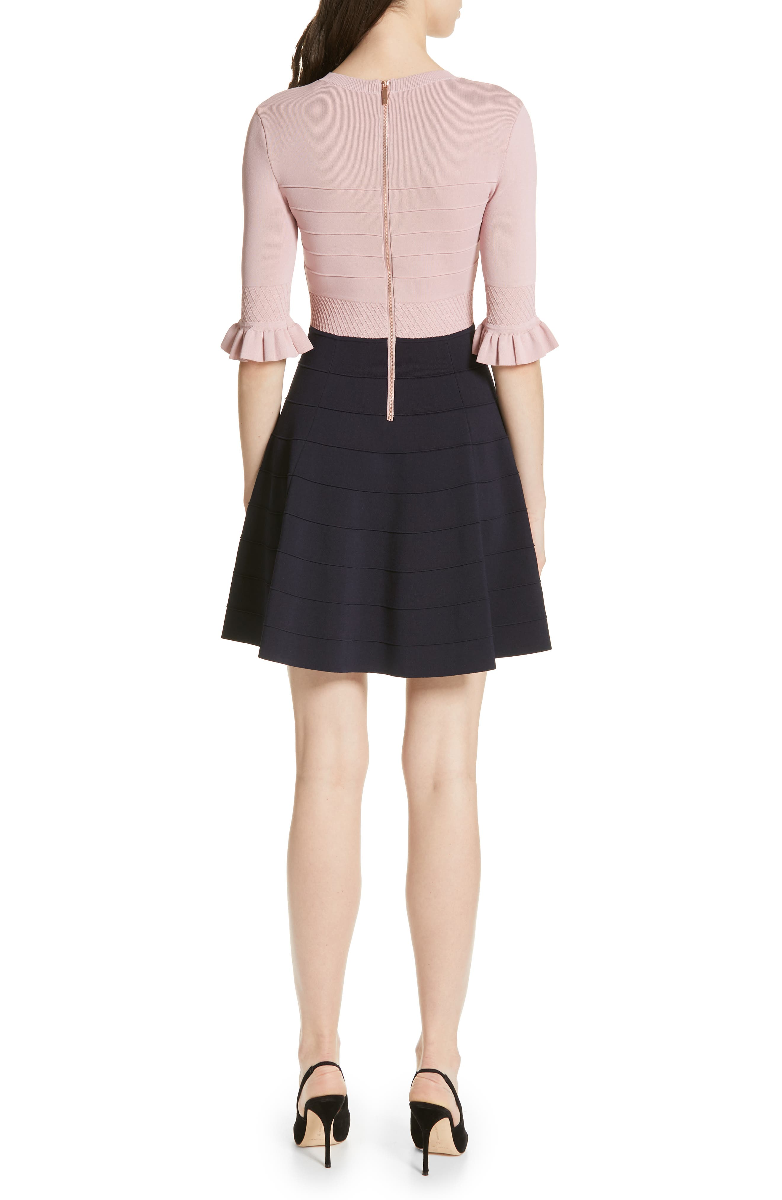 ,                             Dyana Frilled Knit Minidress,                             Alternate thumbnail 2, color,                             DUSKY PINK