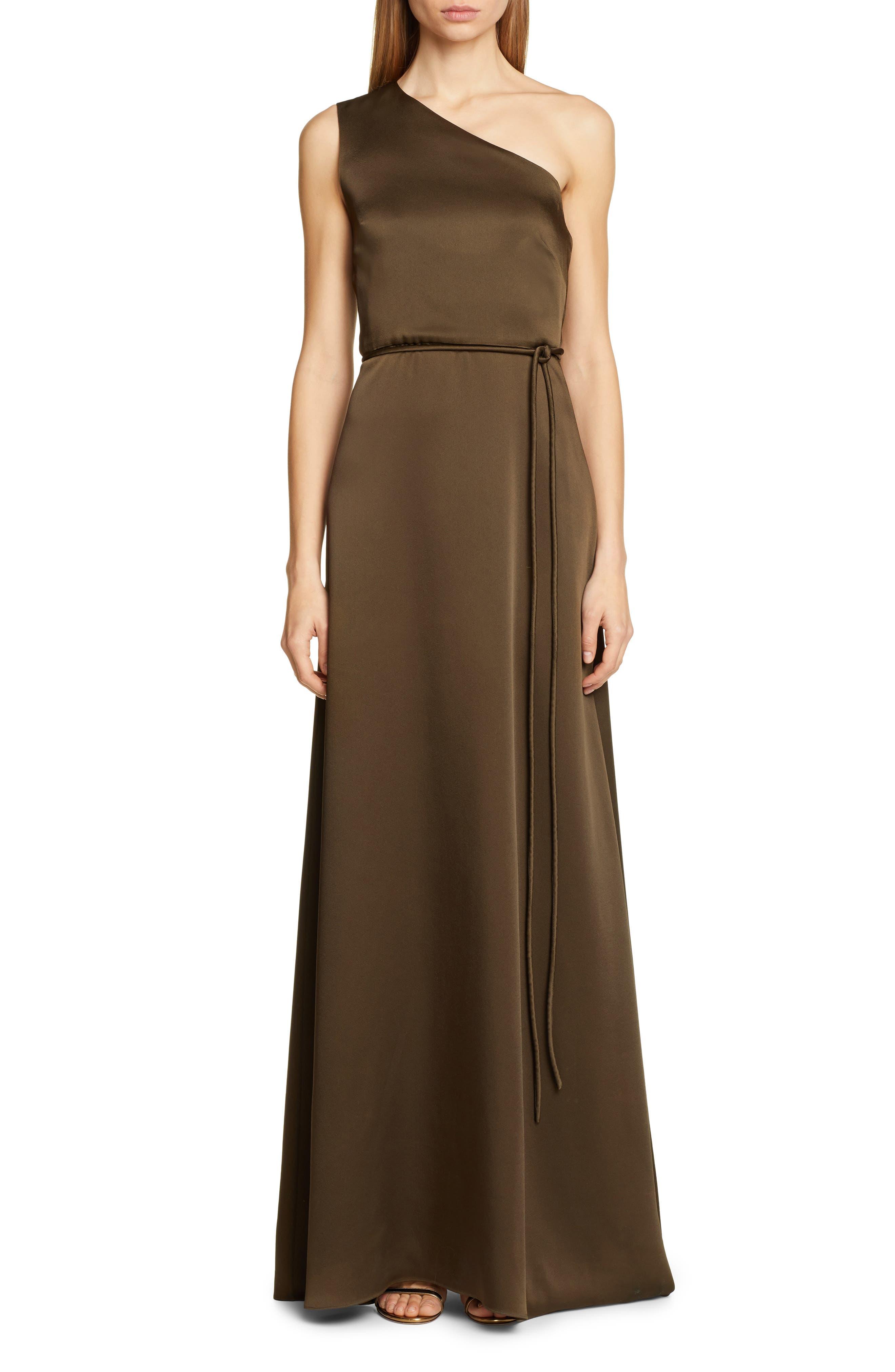 Rosetta Getty One-Shoulder Satin Wrap Evening Gown, Brown