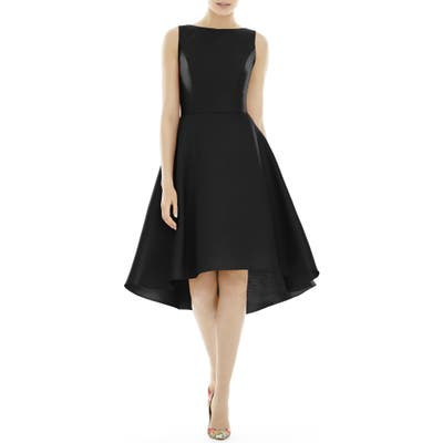 Alfred Sung High/low Satin Twill Cocktail Dress, Black
