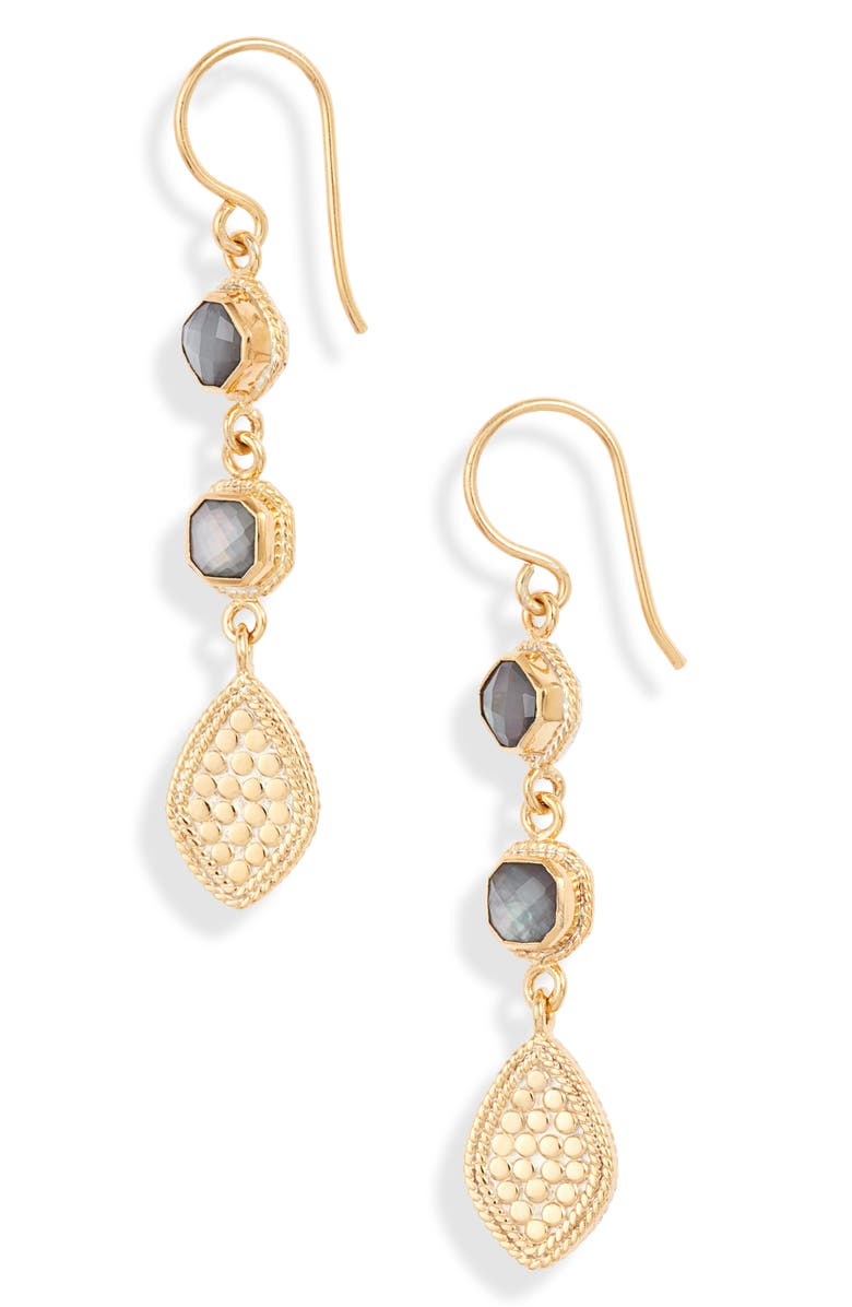 ANNA BECK Triple Drop Quartz Earrings, Main, color, GOLD/ GREY QUARTZ