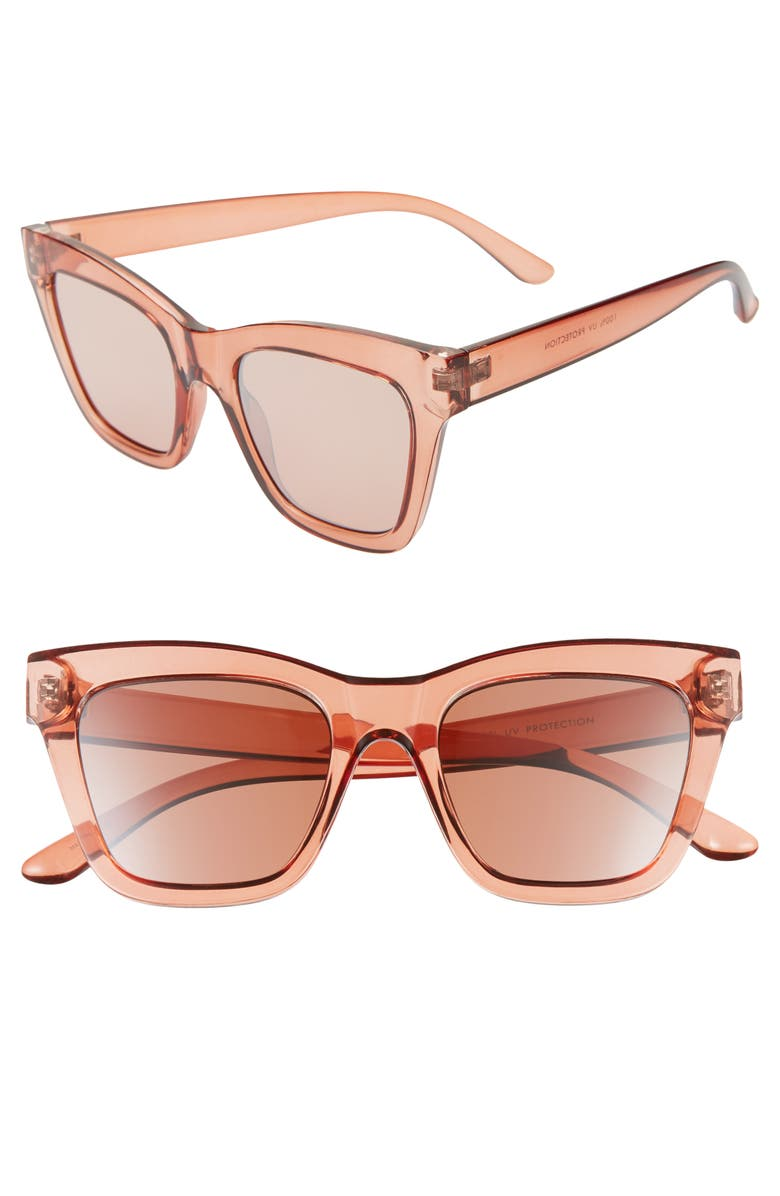 BP. 51mm Square Sunglasses, Main, color, CRYSTAL NUDE ROSE GOLD