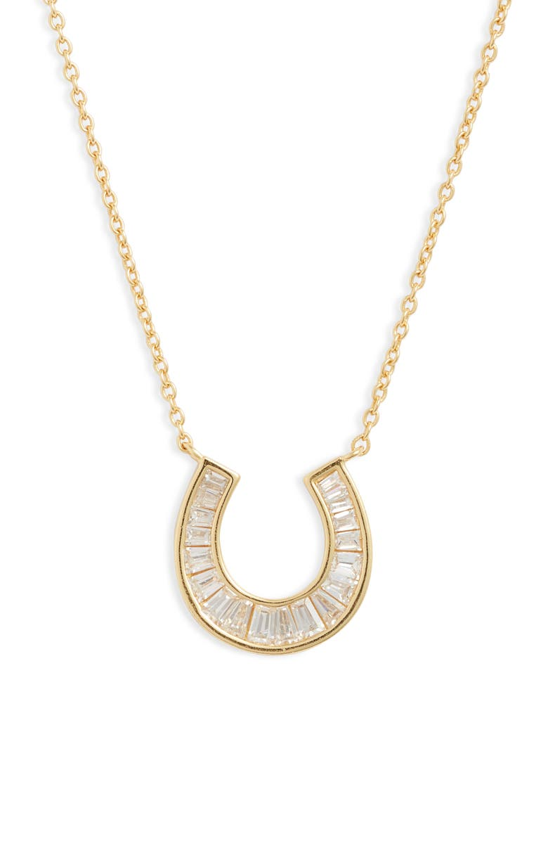 ARGENTO VIVO Horseshoe Baguette Pendant Necklace, Main, color, 710