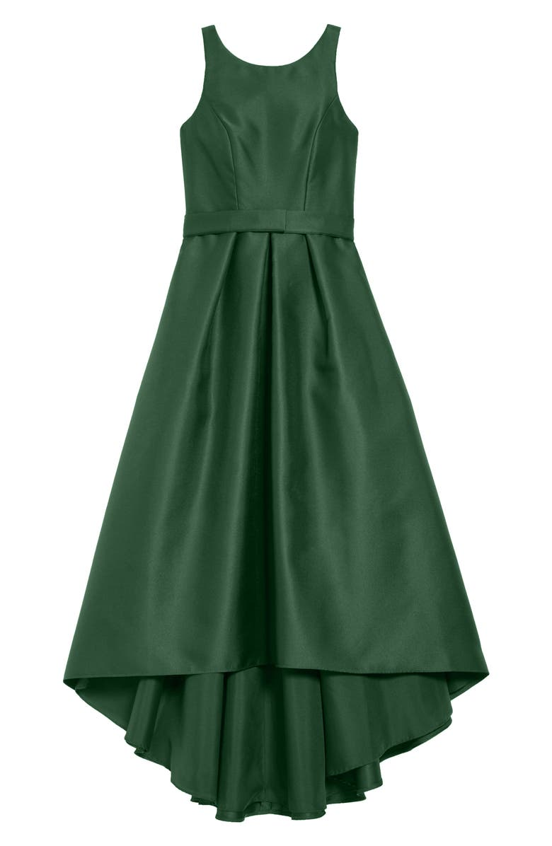 DESSY COLLECTION High/Low Junior Bridesmaid Dress, Main, color, HUNTER