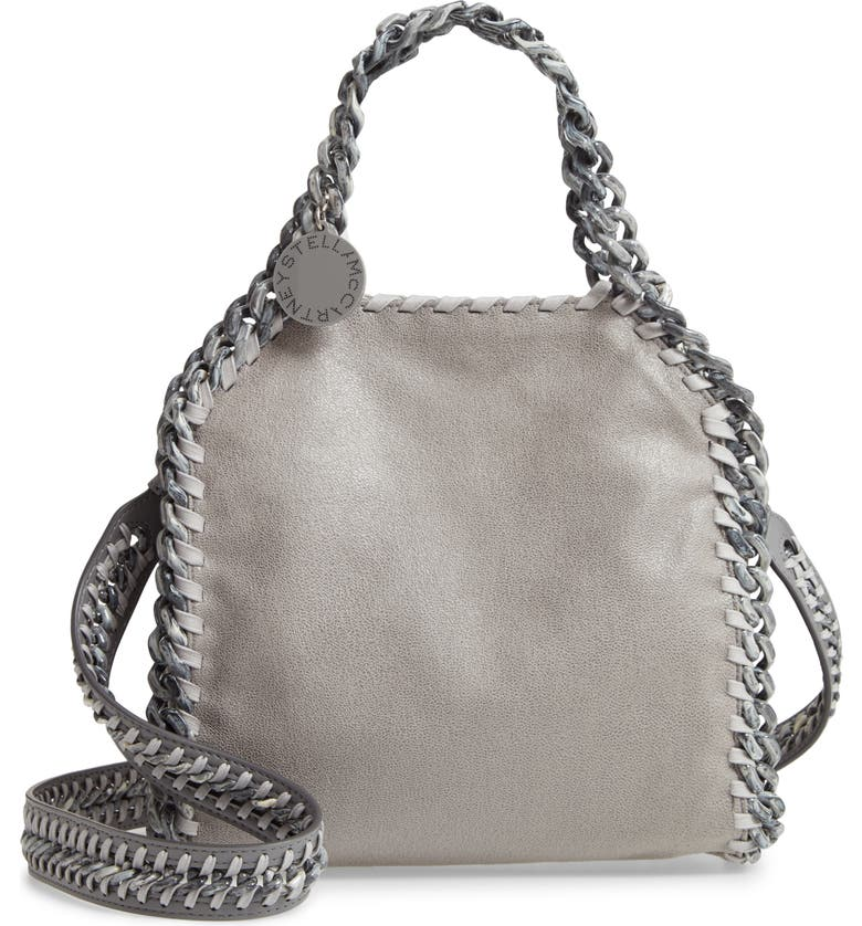 STELLA MCCARTNEY Mini Falabella Shaggy Deer Faux Leather Tote, Main, color, LIGHT GREY