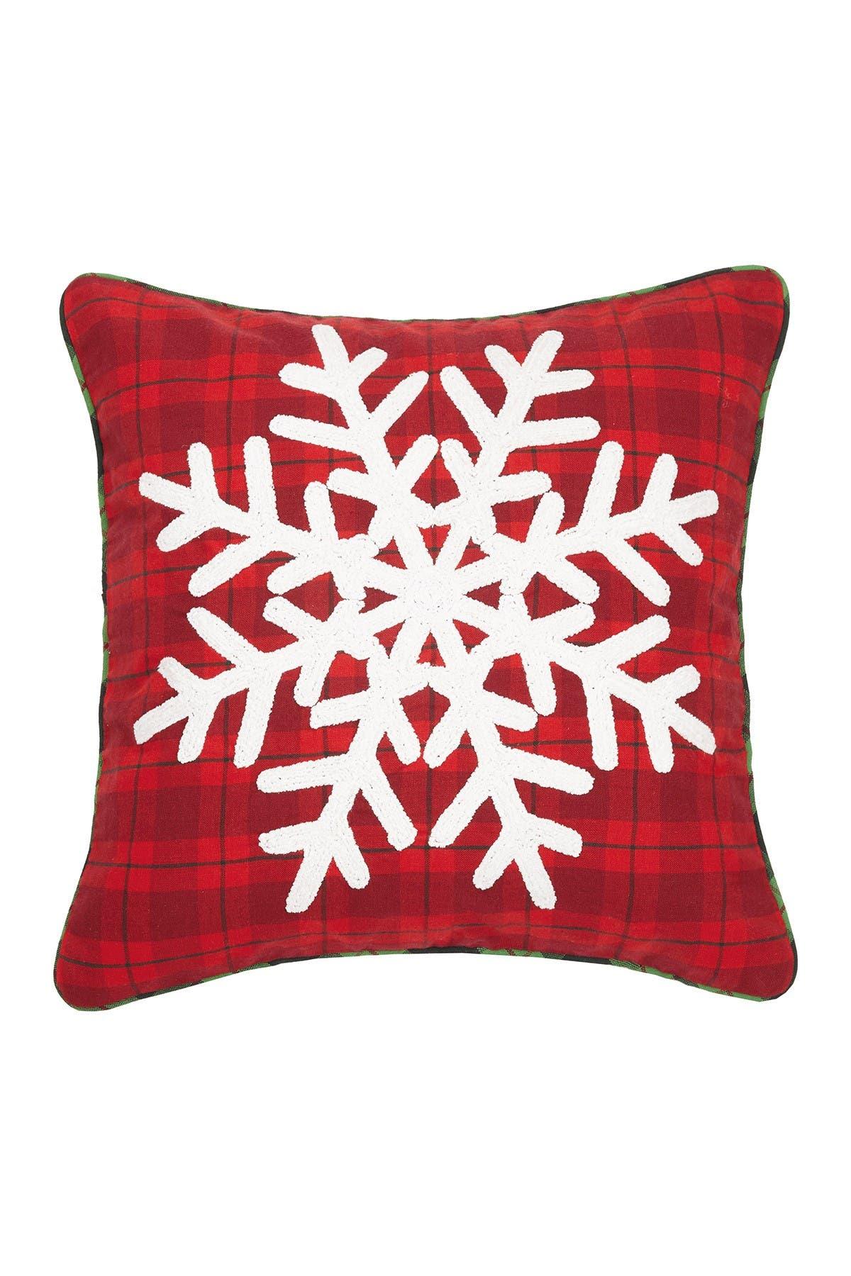 Image of Peking Handicraft Red/White Plaid Snowflake Chenille Pillow