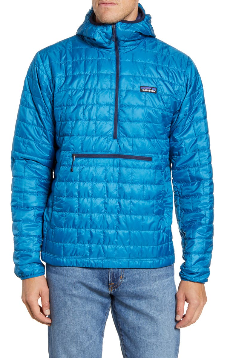 PATAGONIA Nano Puff<sup>®</sup> Bivy Regular Fit Water Resistant Jacket, Main, color, BALKAN BLUE/ CLASSIC NAVY