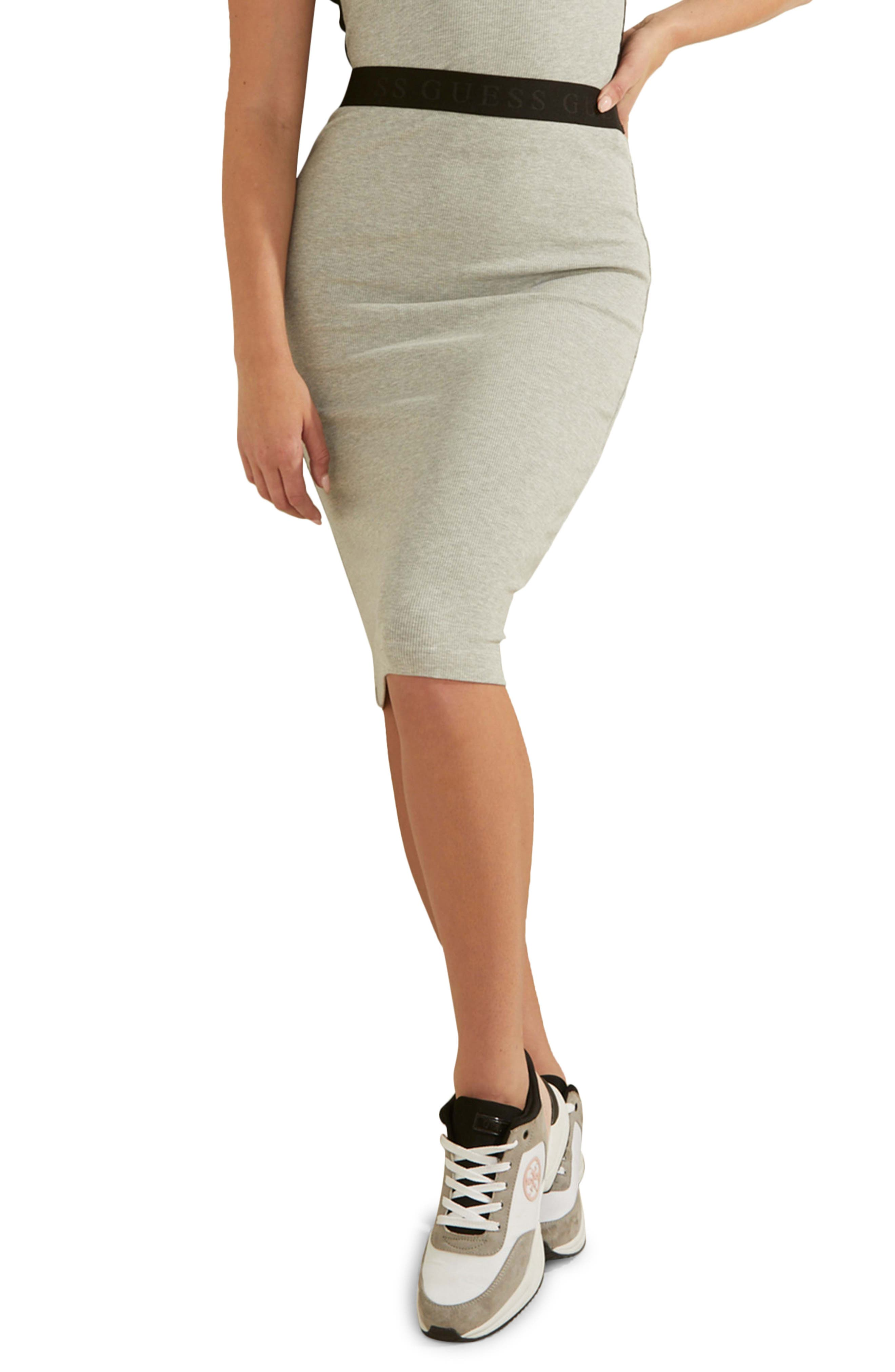 Amy Logo Waist Rib Pencil Skirt