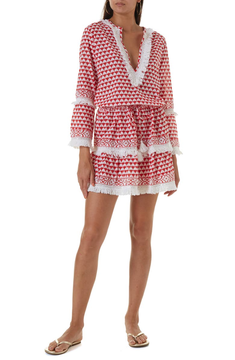 MELISSA ODABASH Claudia Cover-Up Dress, Main, color, RIVIERA RED