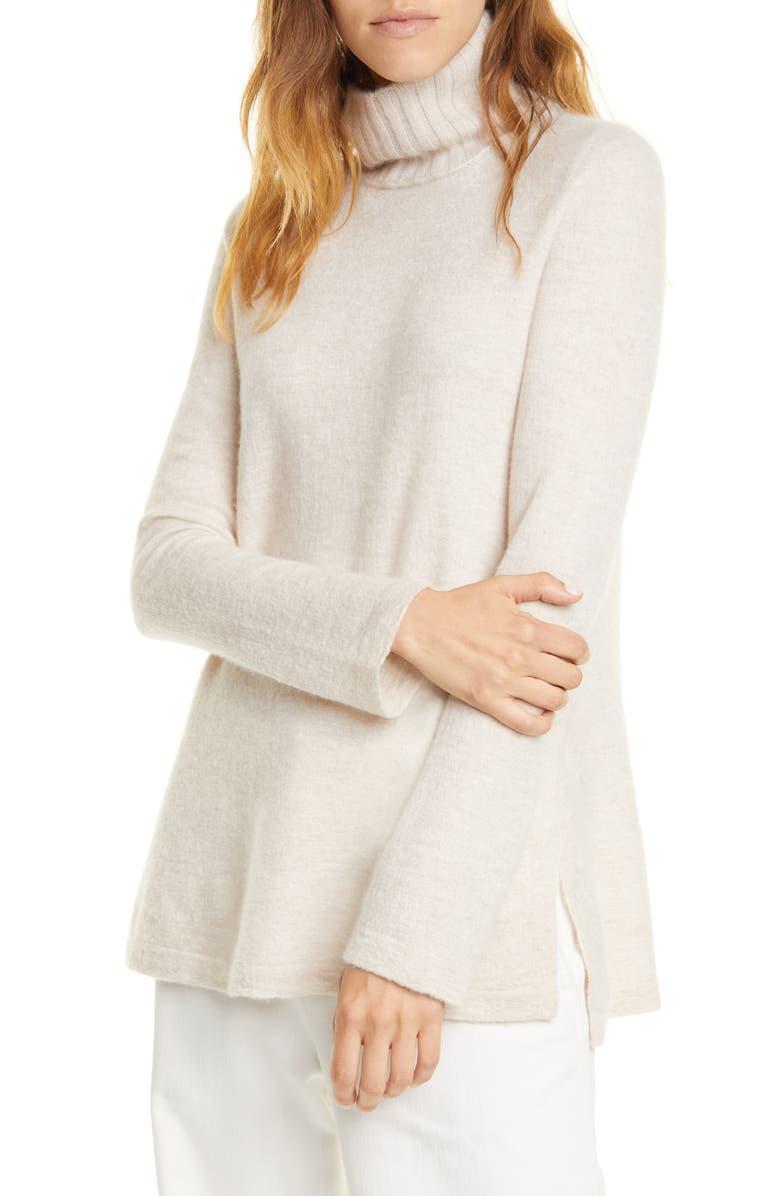 VINCE Side Slit Cashmere Turtleneck Sweater, Main, color, 250