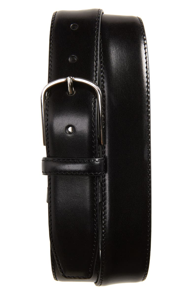 CANALI Leather Belt, Main, color, BLACK