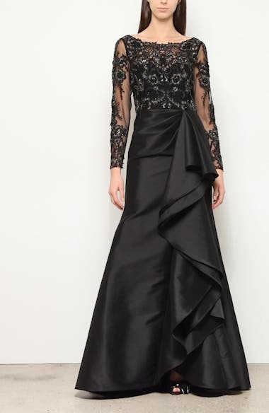 Badgley Mischka Couture Long Sleeve Embellished Lace & Satin Gown, video thumbnail