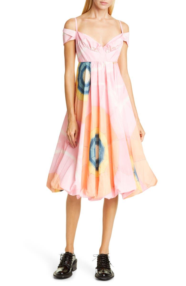 SIMONE ROCHA Dawn Off the Shoulder Taffeta Dress, Main, color, PINK