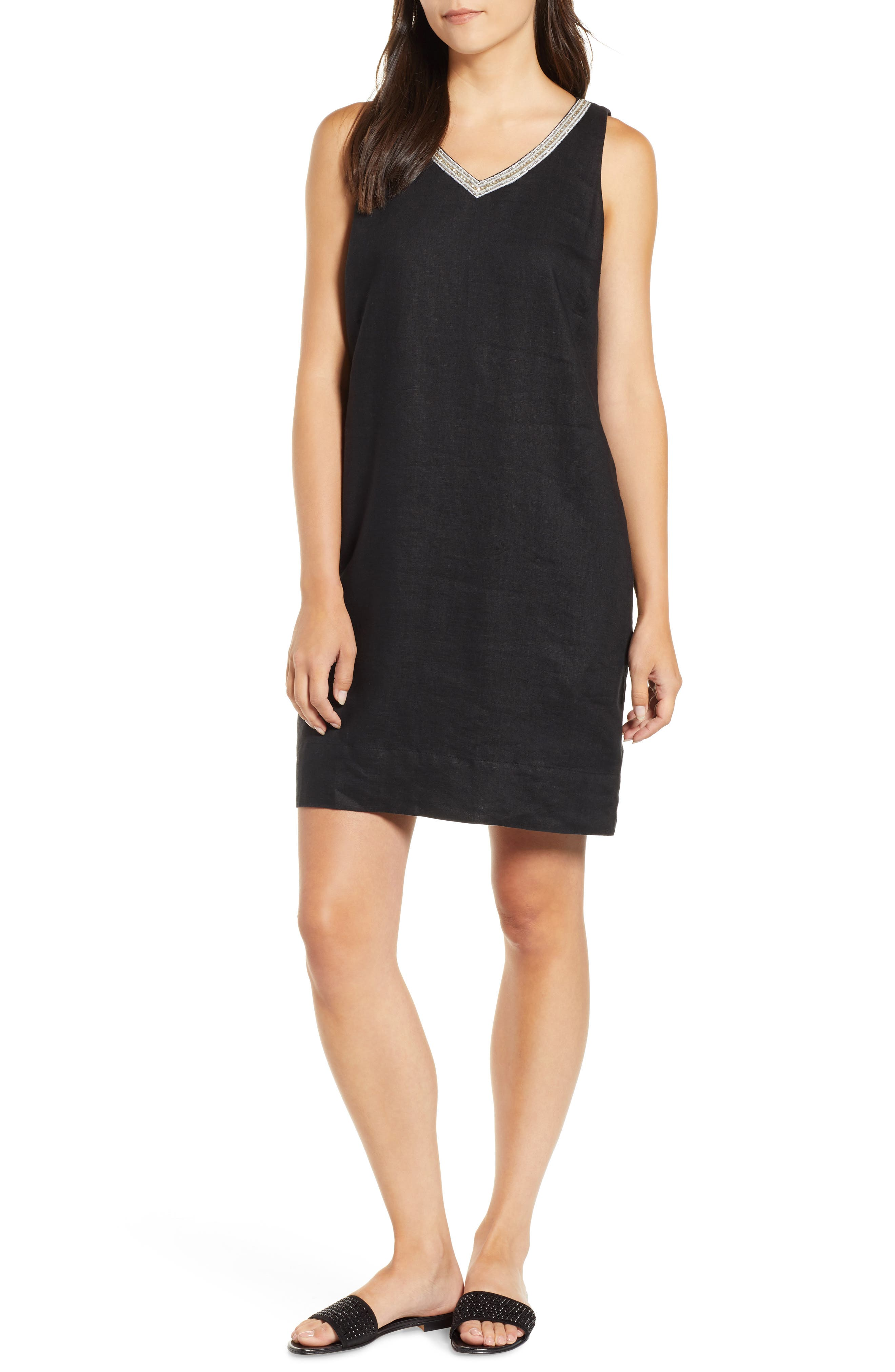 Tommy Bahama Linen Embellished Shift Dress, Black