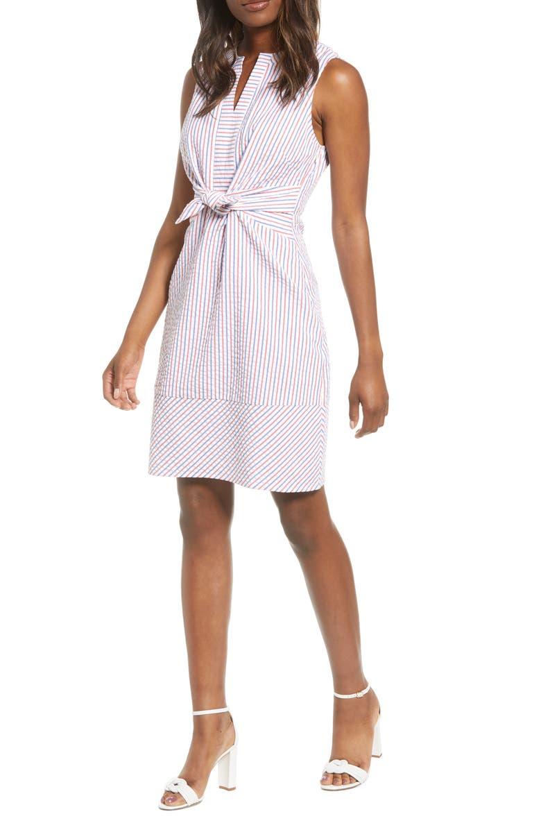 VINEYARD VINES Firework Seersucker Tie Front Dress, Main, color, 634
