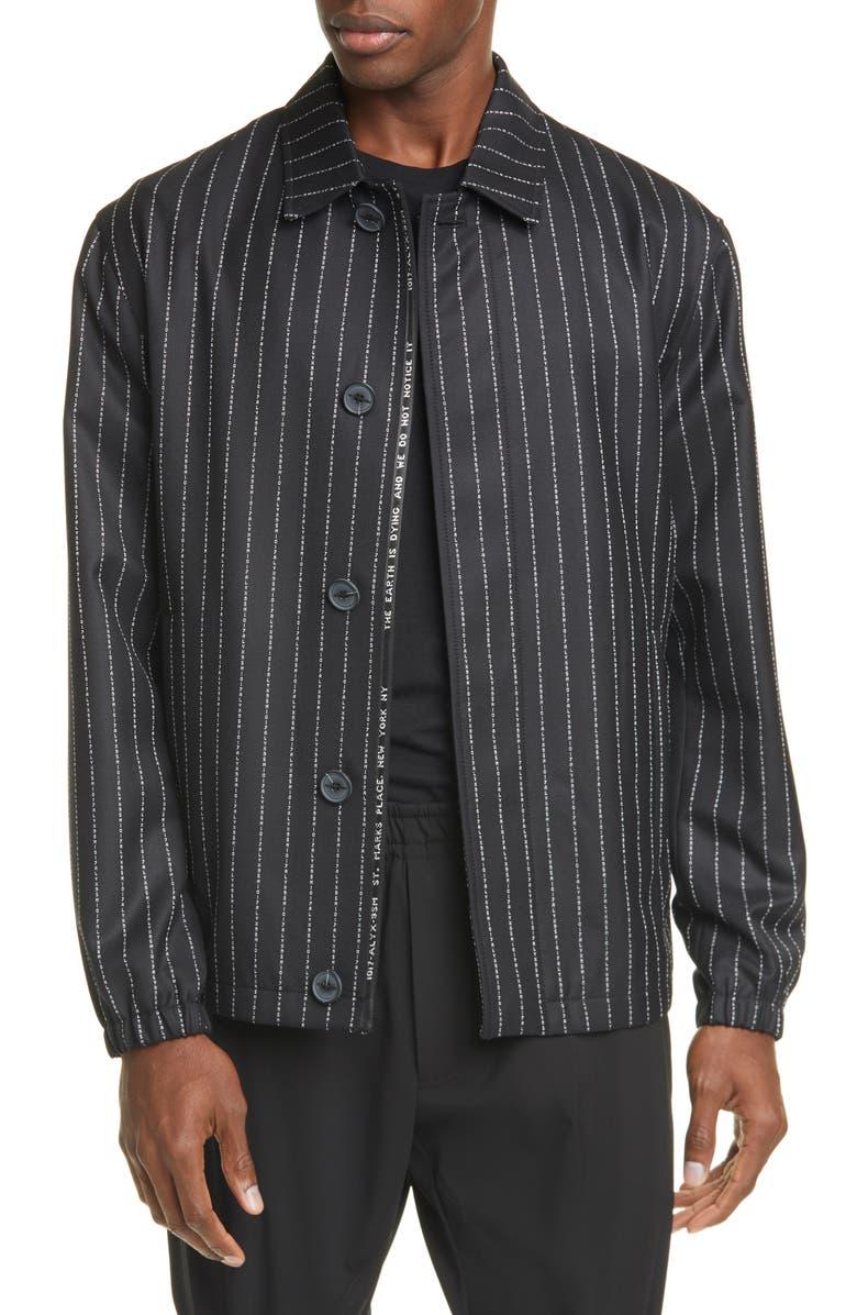 1017 ALYX 9SM Stripe Wool Jacket, Main, color, BLACK / WHITE