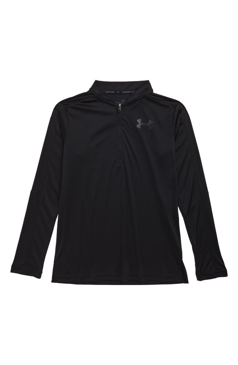 UNDER ARMOUR Half Zip Long Sleeve HeatGear<sup>®</sup> Shirt, Main, color, 001