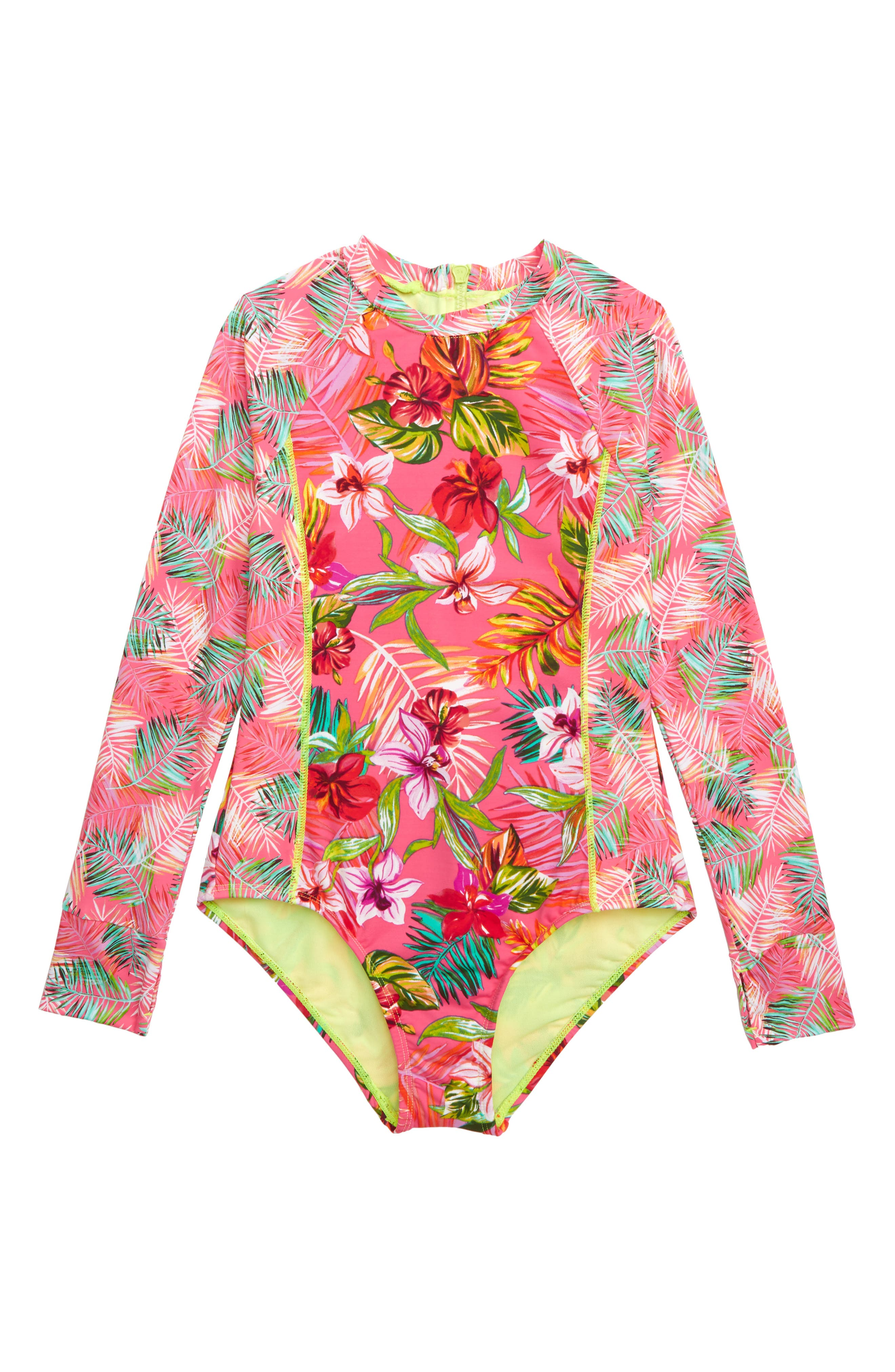 ,                             Flor All Nothing One-Piece Rashguard Swimsuit,                             Main thumbnail 1, color,                             BRIGHT PINK