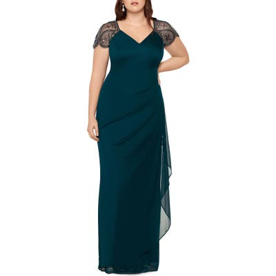 Plus Size Xscape Embellished Mesh Sheath Evening Gown, Green