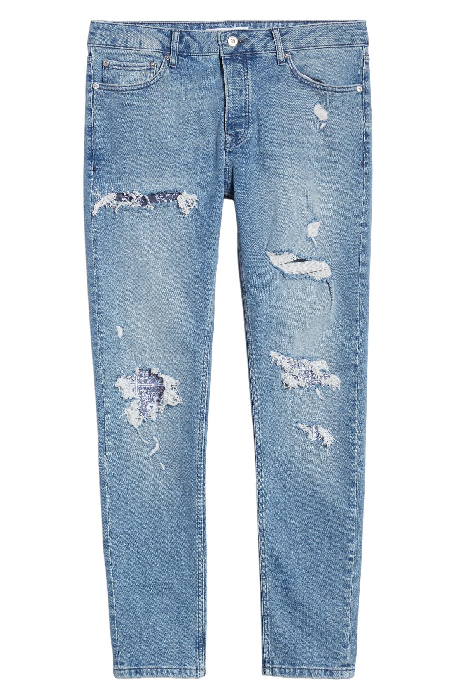 Bandana Skinny Fit Stretch Jeans TOPMAN