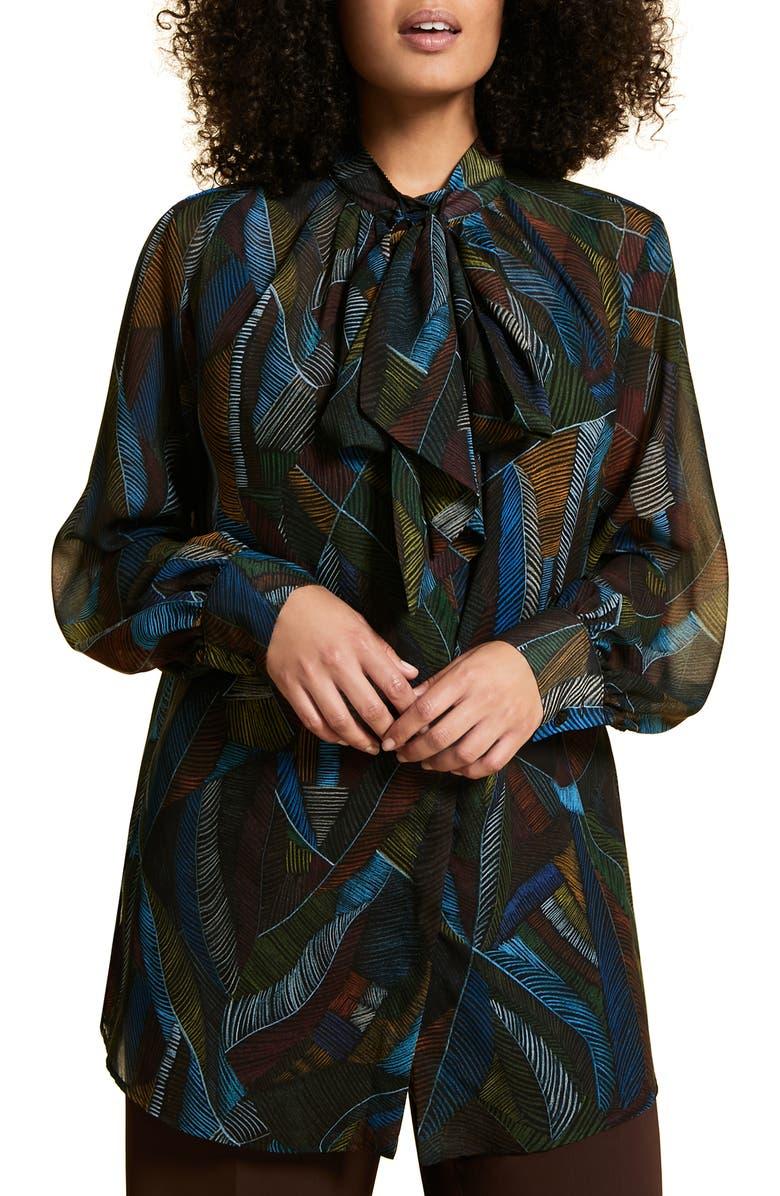 MARINA RINALDI Printed Chiffon Shirt, Main, color, BLUE PEACOCK