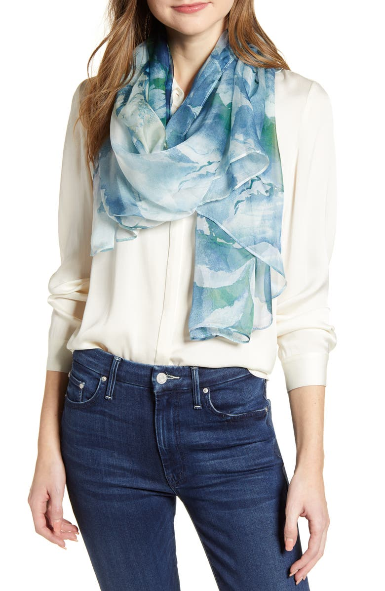 NORDSTROM Silk Chiffon Oblong Scarf, Main, color, BLUE GRAND DAHLIA PRINT