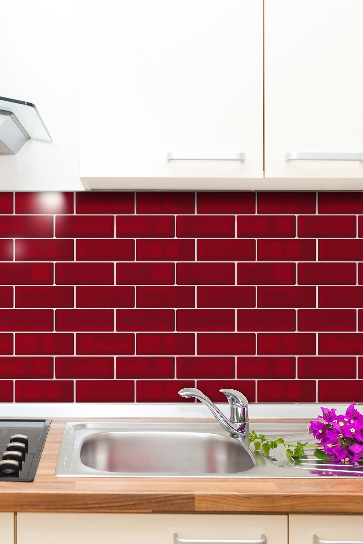 Image of WalPlus Cherry Red Metro 3D Metro Sticker Tiles Retro Wall Splashbacks Mosaics