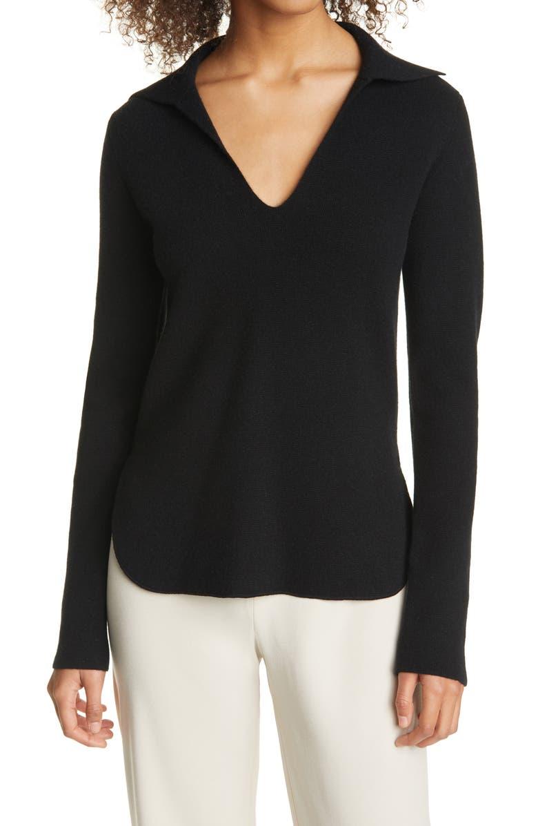 VINCE Polo Sweater, Main, color, BLACK