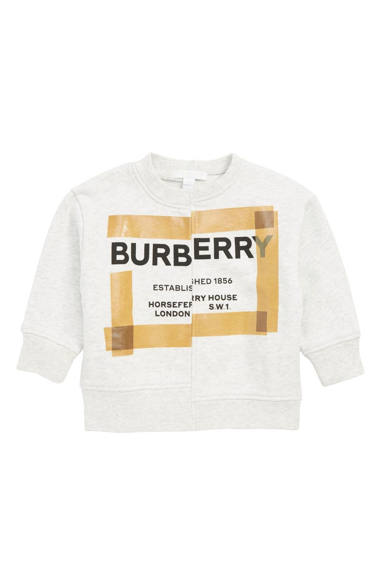 BURBERRY Patch Logo Sweatshirt, Main, color, WHITE MELANGE